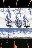 Fet ridning för cykelsnöcykel i krökningen, Oregon Fotografering för Bildbyråer