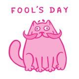 Fet rosa katt för tecknad film med en stor mustasch också vektor för coreldrawillustration Arkivfoton