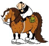 Fet ryttare på skurkrollhäst Arkivbild
