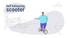 Fet sjukligt fet man som rider den elektriska själven som balanserar den överviktiga grabben för sparkcykel som använder staden f vektor illustrationer
