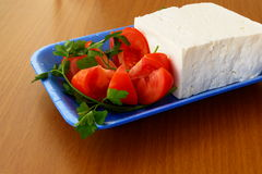 Feta. Greek feta (cheese) and fresh tomatos from Greece stock photo
