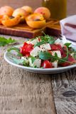 Feta arugula salad with tomatoes on white plate, summer food. Feta arugula salad with tomatoes on white plate, summer vegetarian food concept stock photos