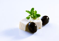 Feta and black olives Royalty Free Stock Images