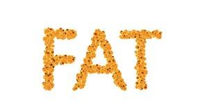 Feta celler begrepp för den vård- risken för fetma- eller banta och näringproblem Alfabetiskmatten inkluderar arkivfilmer