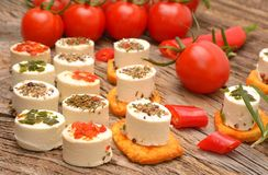 Feta cheese appetizer with spices Stock Photography