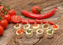 Feta cheese appetizer with spices Royalty Free Stock Photos