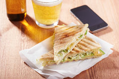Feta cheese and avocado sandwich Royalty Free Stock Photos