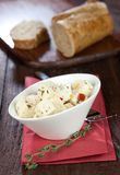 Feta cheese and baguette Royalty Free Stock Photography