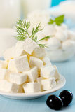 Feta cheese with black olives Royalty Free Stock Images