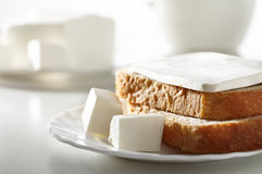 Feta cheese with bread Stock Photo