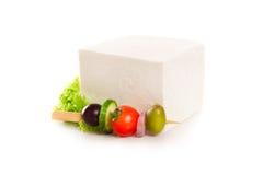 Feta cheese cube isolated on white background Stock Photo