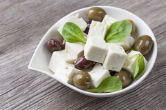 Feta cheese cubes royalty free stock photos
