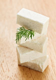 Feta cheese cubes with dill twig Royalty Free Stock Photos