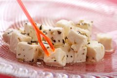 Feta cheese cubes Stock Image