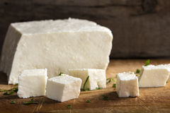 Feta cheese cubes and herbs Royalty Free Stock Photography