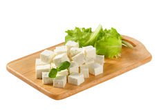 Feta Cheese. Cubes of feta cheese on a plate Stock Photography