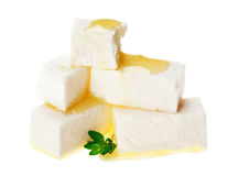 Feta cheese cubes with thyme twig Stock Image