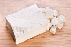 Feta cheese on the cutting board Stock Photography