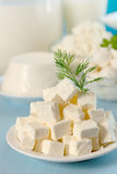 Feta cheese with dill Royalty Free Stock Image