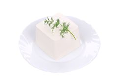 Feta cheese with dill herb. Stock Photo