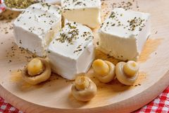 Feta cheese with mushrooms Stock Photography