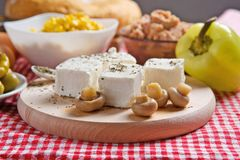 Feta cheese with mushrooms Stock Photos