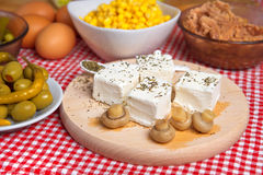 Feta cheese with mushrooms Royalty Free Stock Photos