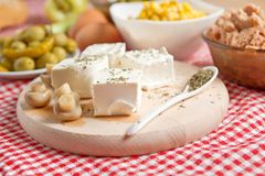 Feta cheese with mushrooms Stock Images