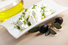 Feta cheese with olive Royalty Free Stock Photo