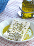 Feta cheese and olive oil Royalty Free Stock Images