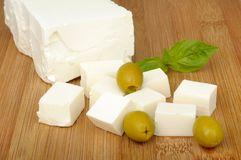 Feta cheese and olives Stock Image