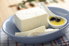 Feta cheese with olives Royalty Free Stock Photography
