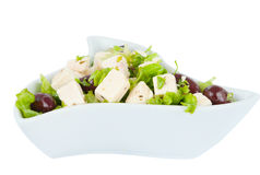 Feta cheese with olives Stock Images