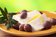 Feta cheese with olives Royalty Free Stock Image
