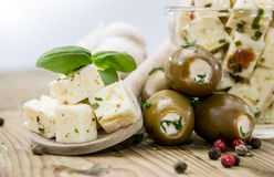 Feta Cheese and Olives Stock Images