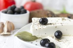 Feta cheese, olives, spice, greek food. Feta cheese, olives, greek food stock photos
