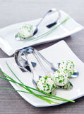 Feta cheese with onion chives. Balls of feta cheese with onion chives Royalty Free Stock Photo