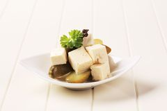 Feta cheese and pickles Royalty Free Stock Photos