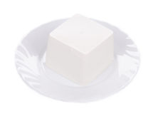Feta cheese on plate. Royalty Free Stock Photo