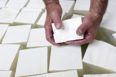 Feta cheese production cubes Stock Images