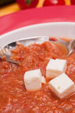 Feta cheese and spanish vegetable soup gazpacho Royalty Free Stock Photography