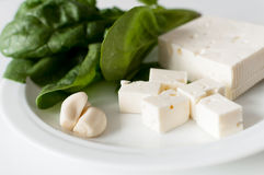 Feta cheese and spinach Royalty Free Stock Image