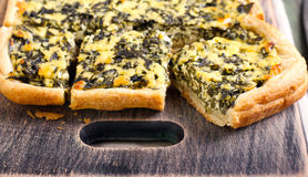 Feta cheese and spinach puff pastry pie Royalty Free Stock Photography