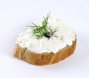 Feta cheese spread on bread Stock Images