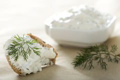 Feta cheese spread. With dill on a piece of bread Royalty Free Stock Photography
