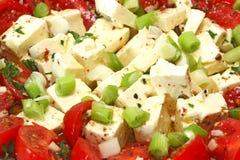 Feta cheese with tomato. Fresh feta cheese with tomato Stock Photos