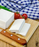 Feta cheese with tomato on the board and napkin Stock Image