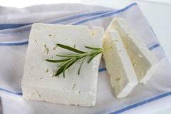 Feta cheese. Traditional Greek feta cheese with rosemary royalty free stock image