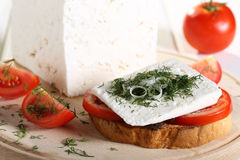 Free Feta Cheese With Tomato On Toast Royalty Free Stock Photography - 32834407