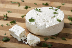 Feta cheese on wooden board Stock Images